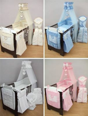 12 Pcs Baby Bedding Set Nappy Bag Cot Tidy For Cot Cot Bed Boy Girl - Hearts