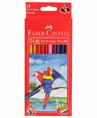 Faber Castell Colour Pencil Set of 24 Tri Color Colouring Pencils Drawing New