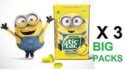 3 X Tictac Minions Limited Edition Banana Flavour BOB 3 X 24g BIG Packs TIC TAC