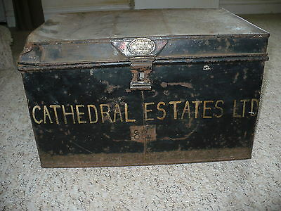 Vintage Deed Box / Chest Industrial Shabby Chic Look