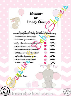 Baby Shower Game Mummy or Daddy Quiz ELEPHANT & BUNNY 20 Players PINK GIRL