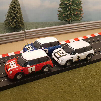 Micro Scalextric 1:64 Cars - Mini Rally - Red #1, Blue #2, White #3