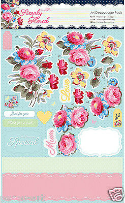 Docrafts Papermania A4 Decoupage packung Einfach Blumenmuster PASTELL BLÜTEN