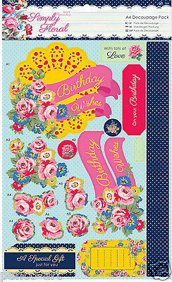 Docrafts Papermania A4 Decoupage packung Einfach Blumenmuster HELL BLÜTEN
