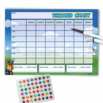 Re-usable Reward Chart (including FREE Stickers and Pen) - Paw Patrol L/S