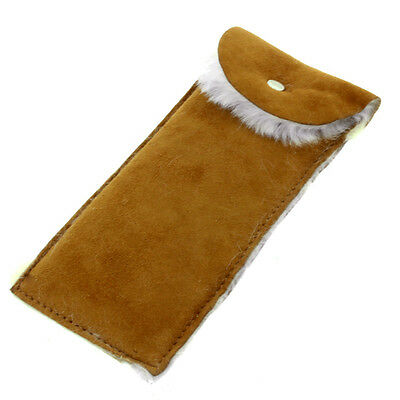Real Suede Tan Coloured Unisex Glasses Case with Fur Lining and Magnetic Closing