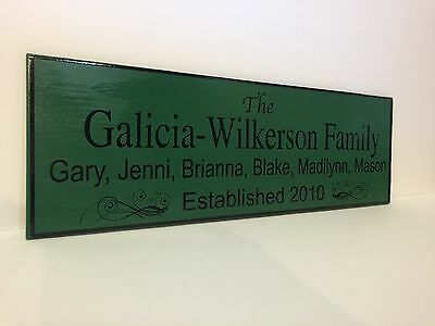 Family Established Wooden Sign 6x18 With Names