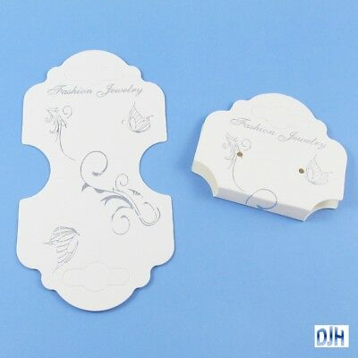 Bulk 25pk Earring Jewelry Hanging Display Card Butterfly White 102x55mm