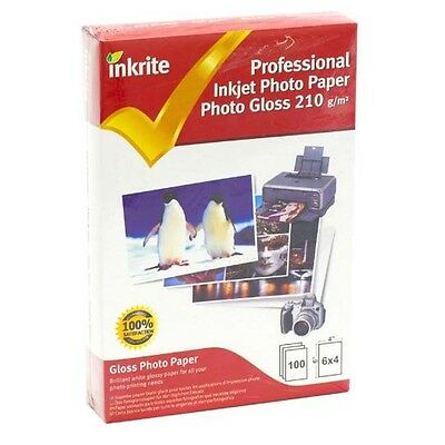 INKRITE INKJET Printer A6 PHOTO PAPER 100 SHEETS GLOSS / GLOSSY 210 GSM 6X4 Qlty