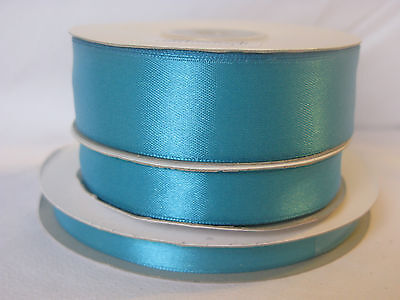 Full reel turquoise double sided satin ribbon 3 10 16  25mm crafts cards wedding
