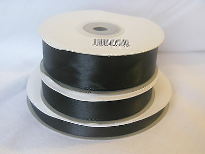 Full 50m reel black double sided satin ribbon 3 10 16  25mm crafts cards wedding