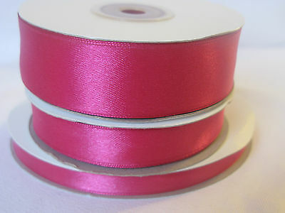 Full reel cerise double sided satin ribbon 3 10 16  25mm crafts cards sewing