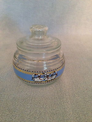 Clear Glass Geese KIG Indonesia Canister Candle Jar Candy