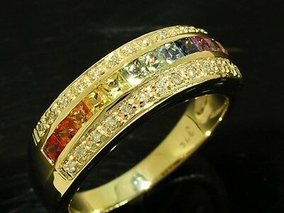 R167 Solid 9K Gold Natural Fancy Sapphire & DIAMOND Eternity Ring Rainbow size M