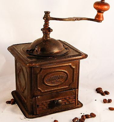 Antique LEINBROCK WERKE Tin Coffee Grinder Rustic Primitive Mill Cafe a Moulin