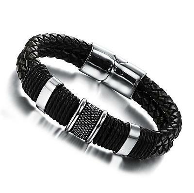 Men's Stainless Steel Genuine Leather Braided Bracelet Wristband Surfer Bangle
