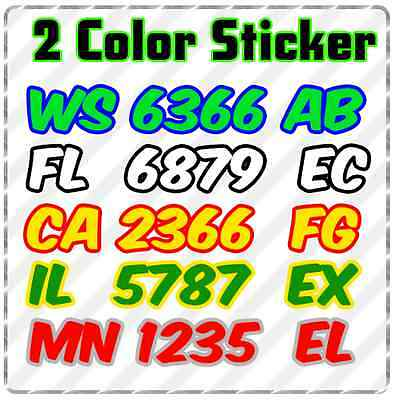 """Custom Snowmobile Registration 2"""" Numbers/Outline Decal Sticker Vinyl 2 Colors"""
