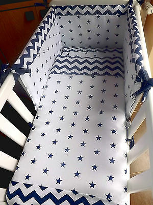 crib or cot bedding,curtains navy blue stars and zigzag 100%cotton made to order