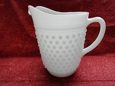 Vintage Anchor Hocking 64 Ounce White Hobnail Milk Glass Drink Pitcher