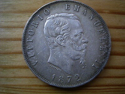 1872 M   Italy 5  Lire  Silver 25 grams coin 38mm