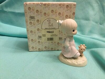 Precious Moments Walk In The Sonshine Girl Walking With Cat NIB 524212