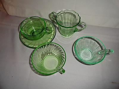 Nice Five Piece Collection Of Vaseline Glass - Interesting Assortment