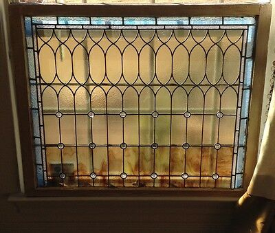 Antique leaded stained glass window crystals large