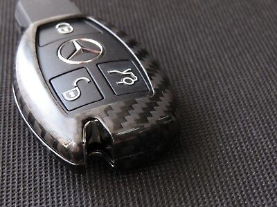 Pinalloy Real Carbon Fiber Remote Keyless Key Cover Case Shell for Mercedes Benz