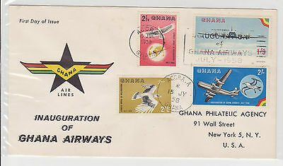 (FDC5X005) GHANA 1958 Inauguration of Ghana Airways First Day Cover FDC