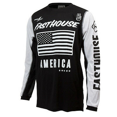 Fasthouse NEW Mx America Dirt Bike Vintage Black White Vented Motocross Jersey
