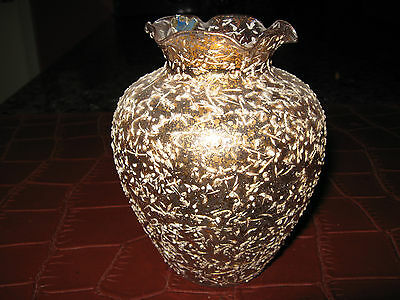 "West Virginia Weston 1930'-50' Hand Made Gold Brocade Artglass Ruffed 5.5"" Vase"