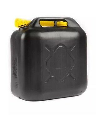 20L Black Plastic Fuel Jerry Can Diesel Petrol Water 20 Litre With Free Spout Uk