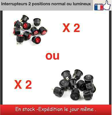 2 x mini Interrupteurs 2 positions ronds normal ou lumineux miniature switch