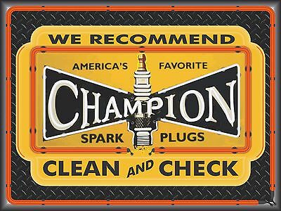 Champion Spark Plugs New Design Neon Style Banner Sign Garage Art 4' X 3'
