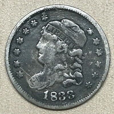 1833 Capped Bust Half Dime - VF Obverse/VG Reverse - No Damage!