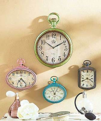 Vintage Shabby Distressed Green Wall Clock Retro Victorian Pink Pocket Clock