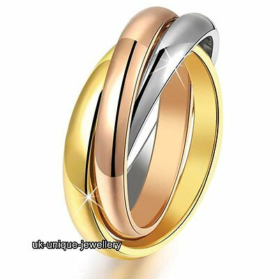 Tri Colour Love Rings Promise Bands Silver Rose Gold Gifts For Her Wife Women UK