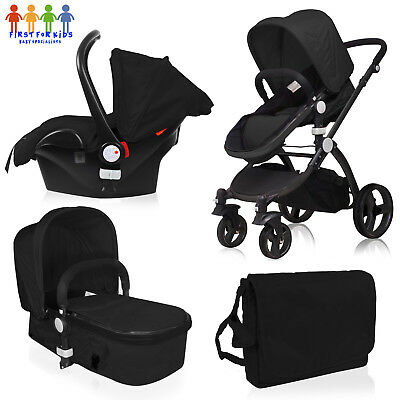 New Girls Boys Silver Travel System Black  3 in 1 Pram Car Seat Carry Cot Set
