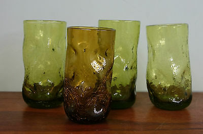 4 Vintage Mid Century Modern Blenko Pinched Dimpled Crackle Glass Tumblers