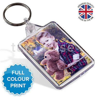 Personalised Custom Printed Photo Gift Keyring Key Fob 50 x 35 mm | Medium Size