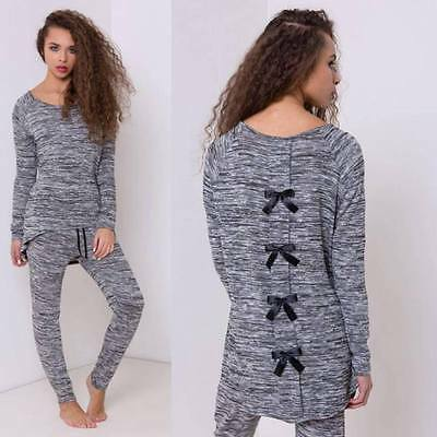 New Womens Ladie Bow Back Two Piece Lounge Sportswear Bottom Top Tracksuit Set