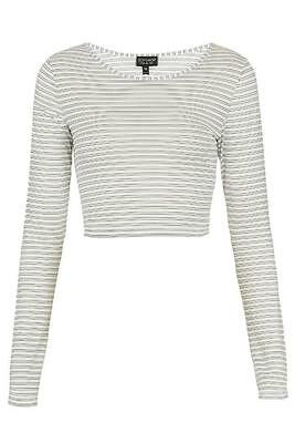 TOPSHOP IVORY STRIPE MESH CROP TOP SIZE 6-12 NEW £18 CROPPED LONG SLEEVE TEE