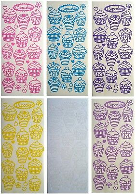CUPCAKES Peel Off Stickers Hearts Flowers Frosting Birthday Party Pink Purple