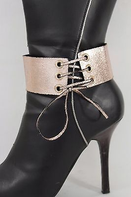 Women Boot Strap Bracelet Western Shoe Charm Jewelry Metallic Rose Gold Corset
