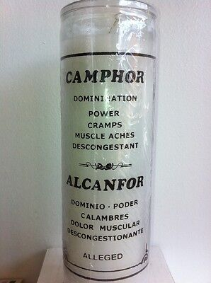 Camphor 7 Day Scented White Candle In Glass ( Alcanfor )