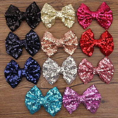 Kids Girls Glitter Shiny Sequined Bow Bowknot Hair Clips Hair Bow Headdress