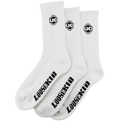 Loosekid NEW Mx LKI Swagger Skate High Casual Mens Long 3 Pack White Crew Socks