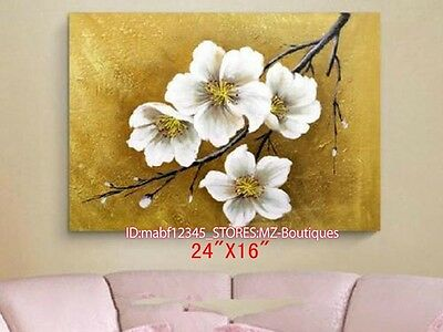 """YH683 24*16""""Hand painted Oil Canvas Wall Art home Decor abstract flower NO Frame"""