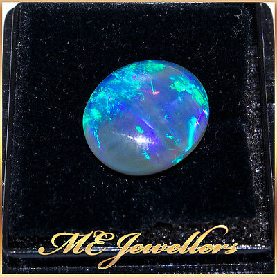 Natural Opal Dark 4.25cts 13.5 x 11.5 x 4.8mm Cabochon Blue Green Fire UNTREATED