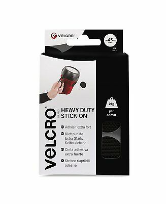VELCRO® Brand Heavy Duty Self Adhesive Stick on large black discs coins 45mm